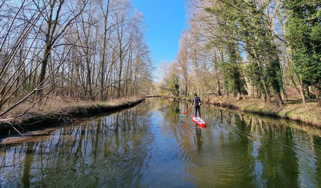 Balade en paddle sur la Juine, dans l'Essonne.