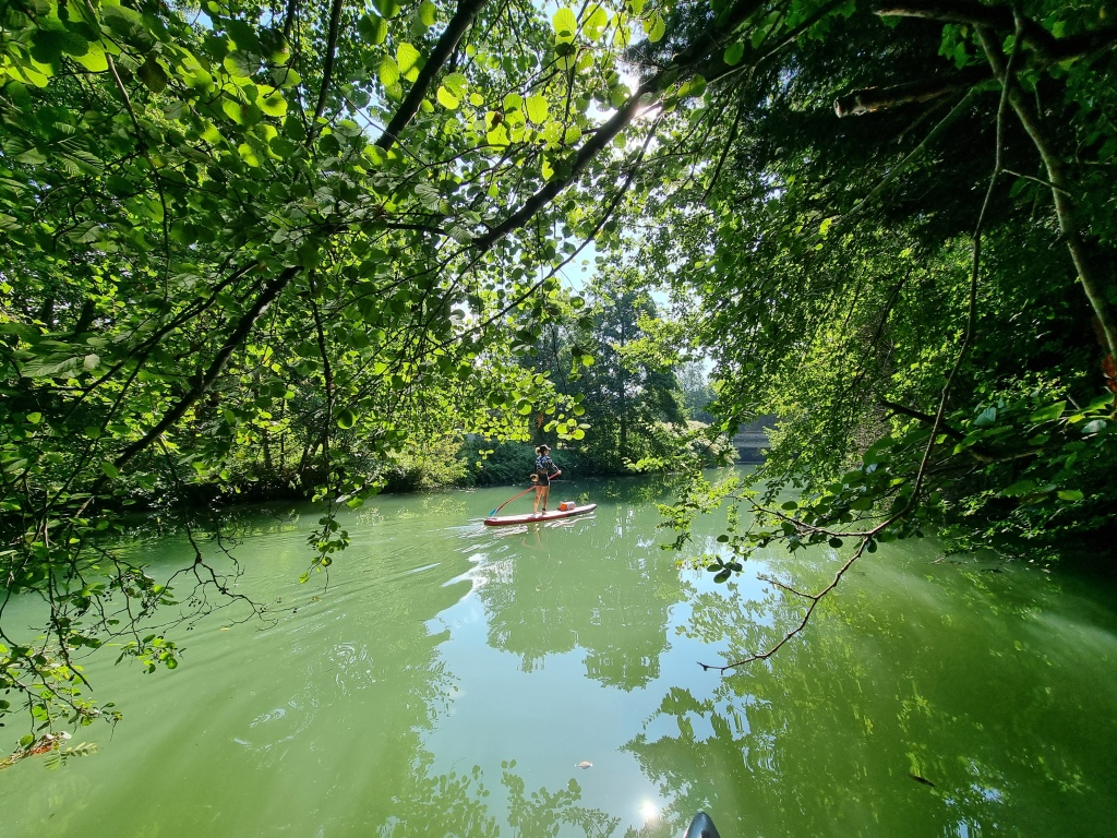 Stand up paddle sur le Grand Morin, près de Crécy-la-Chapelle.